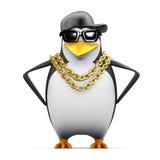 3d Rapper penguin hands on hips vector illustration