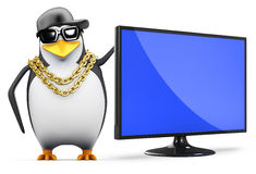 3d Rapper penguin has a new television monitor. 3d render of a penguin with a flatscreen television monitor Stock Images