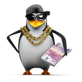 3d Rapper penguin holds Euro notes Royalty Free Stock Image