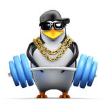 3d Rapper penguin lifts weights Stock Photo