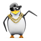 3d Rapper penguin points to the side Royalty Free Stock Photos