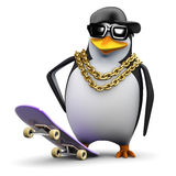 3d Rapper penguin ready to skate Royalty Free Stock Images
