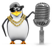 3d Rapper penguin with retro radio mic Stock Photography
