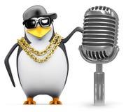 3d Rapper penguin with retro radio mic royalty free illustration