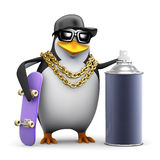 3d Rapper penguin with skateboard and paint Royalty Free Stock Photography