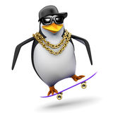 3d Rapper penguin on a skateboard Stock Image