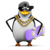3d Rapper penguin with skateboard Stock Images