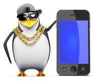 3d Rapper penguin with smartphone Royalty Free Stock Images