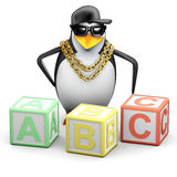 3d Rapper penguin teaches the alphabet Stock Photos