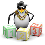 3d Rapper penguin teaches maths Royalty Free Stock Photography