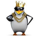 3d Rapper penguin wears the gold crown Stock Image