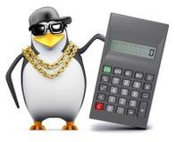 3d Rapper pinguïn gebruikt een calculator Stock Afbeeldingen