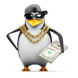 3d Rapper pinguïn houdt Amerikaanse dollars Royalty-vrije Stock Afbeelding