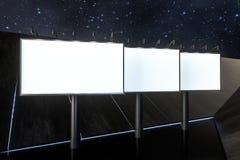 3d rappresentazione, bordo di pubblicit? in bianco nella scena di notte illustrazione vettoriale