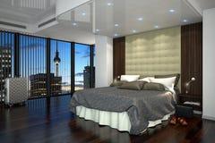 3d rappresentazione - camera di albergo - camera da letto illustrazione vettoriale