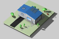3d rappresentazione, casa mini Fotografia Stock Libera da Diritti