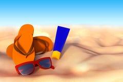 3D rappresentazione degli accessori per la vacanza sulla sabbia alla spiaggia, s Immagini Stock Libere da Diritti