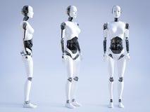 3D rappresentazione del robot femminile che sta, tre angoli differenti royalty illustrazione gratis