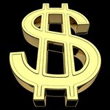 3D rappresentazione del simbolo di valuta del dollaro americano, oro isolato su fondo nero illustrazione vettoriale
