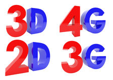 3D rappresentazione di 3D, 2D, 4G, testo 3G su fondo bianco Immagine Stock