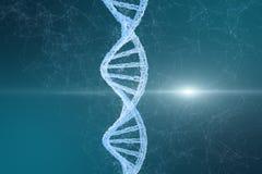 3d rappresentazione, DNA con le linee emanative fondo illustrazione di stock
