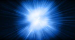 3D rappresentazione, energia blu di onda d'urto cosmica astratta di esplosione su fondo nero, struttura stock footage