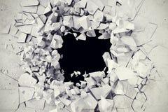 3d rappresentazione, esplosione, muro di cemento tagliato, foro di pallottola, distruzione, fondo astratto Fotografia Stock