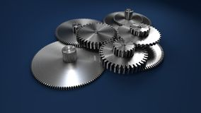 3D rappresentazione, ingranaggi del metallo su blu scuro immagine stock