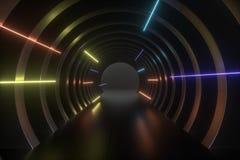 3d rappresentazione, tunnel scuro di fantascienza, fondo scuro illustrazione di stock