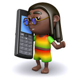 3d Rasta chats on a cellphone Stock Images