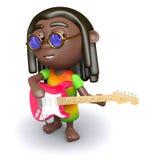 3d Rasta guitarist. 3d render of a rastafarian playing electric guitar Royalty Free Stock Image
