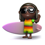 3d Rasta has a new surfboard Stock Photo