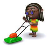 3d Rasta is mowing the lawn Royalty Free Stock Photography