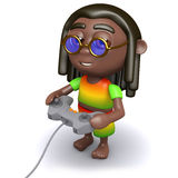 3d Rasta playing a video game Stock Photo