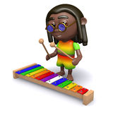 3d Rasta plays xylophone Stock Photos