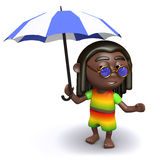 3d Rasta shelters under his umbrella Stock Images