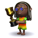 3d Rasta wins the gold cup Royalty Free Stock Images