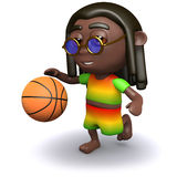 3d Rastafarian basketball. 3d render of a rastafarian playing basketball Stock Images