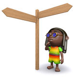 3d Rastafarian decides which way to go Royalty Free Stock Images