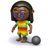 3d Rastafarian has a ball and chain. 3d render of a rastafarian dragging a ball and chain Royalty Free Stock Photography