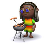 3d Rastafarian has a barbeque. 3d render of a rastafarian cooking on a barbeque stock illustration