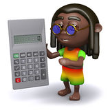 3d Rastafarian has a calculator Stock Image