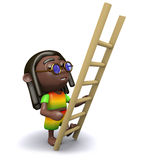 3d Rastafarian has a ladder Stock Photo