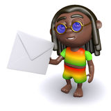 3d Rastafarian has mail Royalty Free Stock Photos