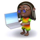 3d Rastafarian hat einen neuen Laptop-PC Lizenzfreies Stockfoto