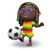 3d Rastafarian kicks the football Stock Images