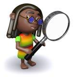 3d Rastafarian looks through magnifying glass Stock Photo