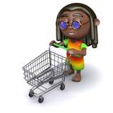 3d Rastafarian på supermarket royaltyfri illustrationer