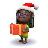 3d Rastafarian Santa brings a gift Royalty Free Stock Image