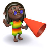 3d Rastafarian shouts through a bullhorn. 3d render of a rastafarian using a bullhorn Stock Photography
